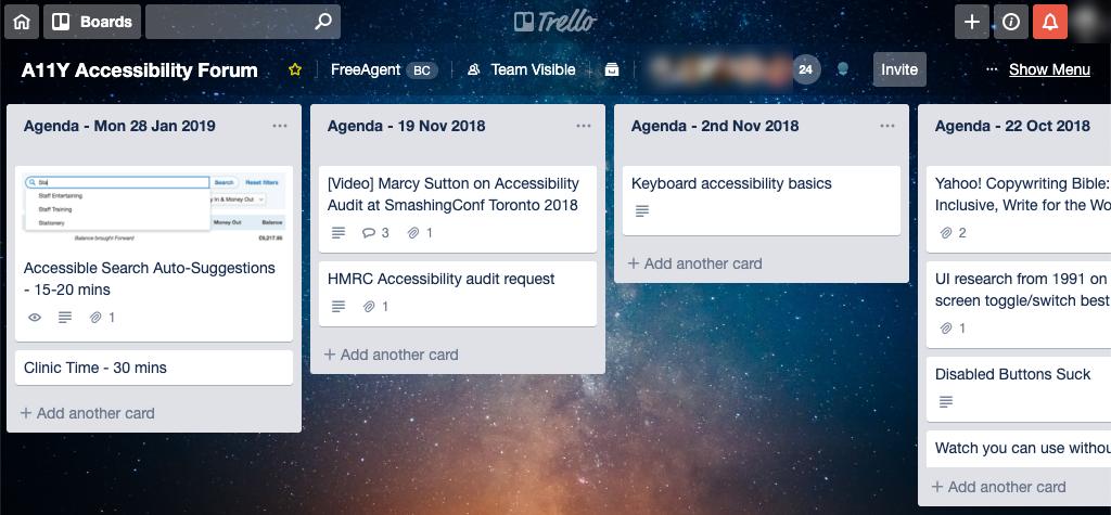 Our accessibility forum Trello board