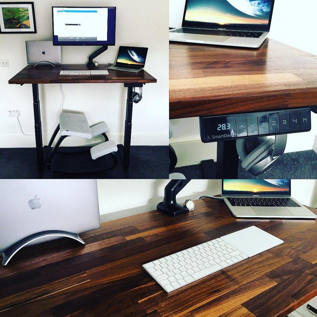 Three images of Matt's home desk setup, including a standing desk.
