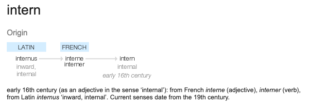 early 16th century (as an adjective in the sense 'internal'): from French interne (adjective), interner (verb), from Latin internus 'inward, internal'. Current senses date from the 19th century.