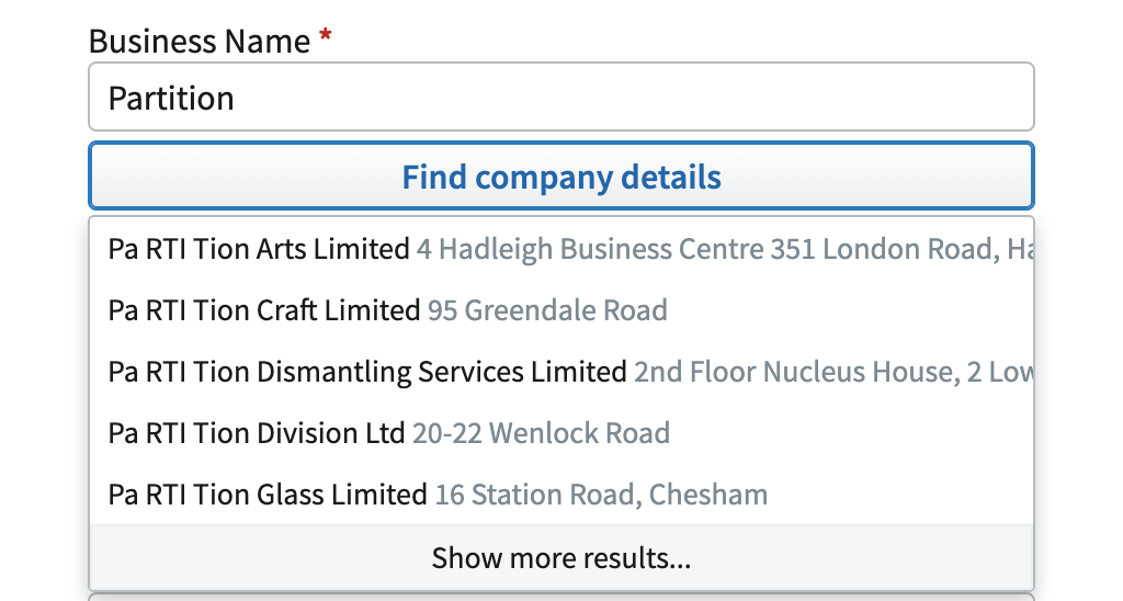 A screenshot of a dropdown menu that shows a list of company names with extra spaces